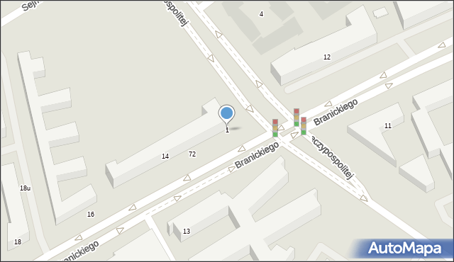 Warszawa, Branickiego Adama, 1, mapa Warszawy