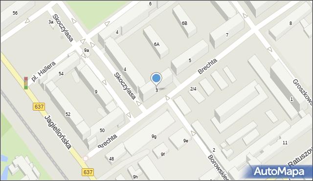 Warszawa, Brechta Bertolta, 3, mapa Warszawy