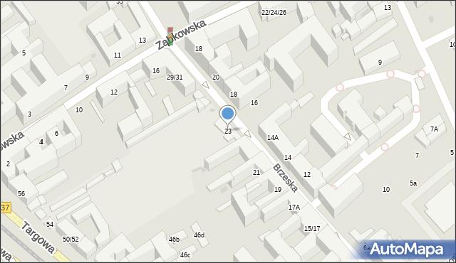 Warszawa, Brzeska, 23, mapa Warszawy