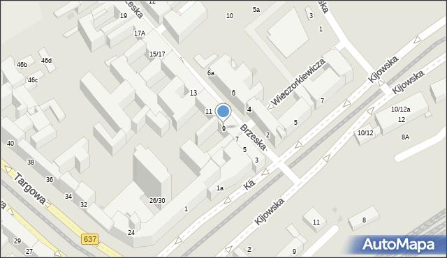 Warszawa, Brzeska, 9, mapa Warszawy