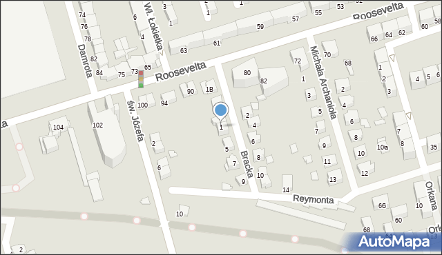 Zabrze, Bracka, 1, mapa Zabrza