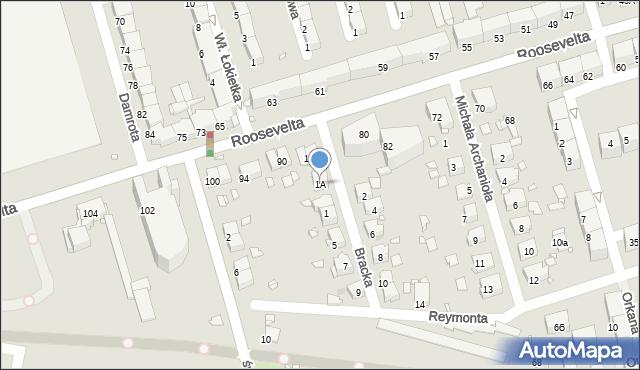 Zabrze, Bracka, 1A, mapa Zabrza