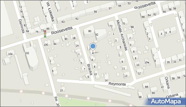 Zabrze, Bracka, 4, mapa Zabrza