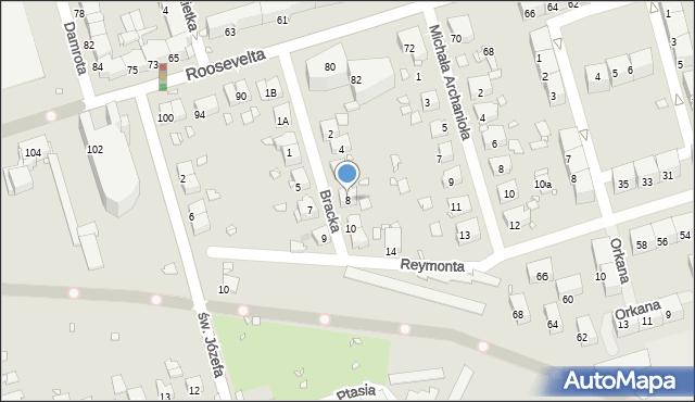 Zabrze, Bracka, 8, mapa Zabrza