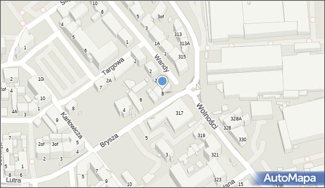 Zabrze, Brysza Wiktora, 8, mapa Zabrza