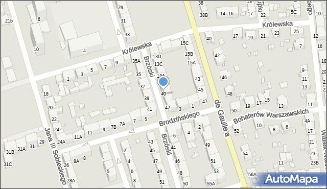 Zabrze, Brzóski Stanisława, ks., 40, mapa Zabrza