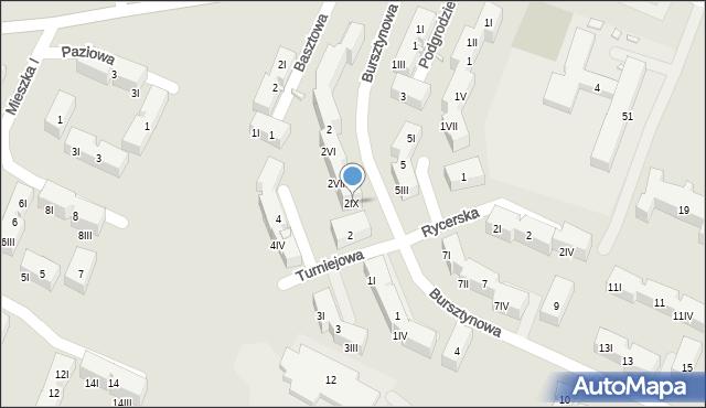 Będzin, Bursztynowa, 2IV, mapa Będzin