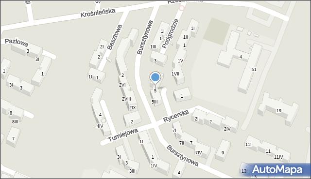Będzin, Bursztynowa, 5II, mapa Będzin