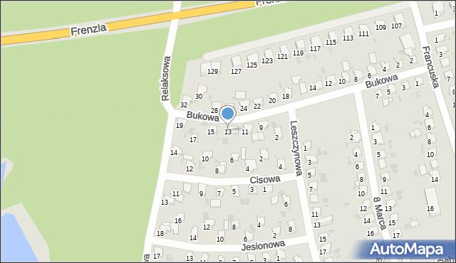 Bytom, Bukowa, 13, mapa Bytomia