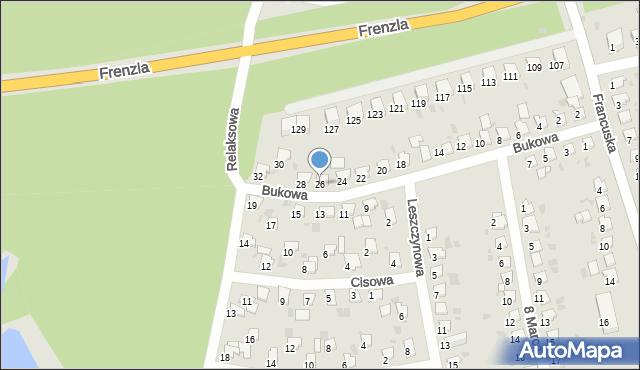 Bytom, Bukowa, 26, mapa Bytomia