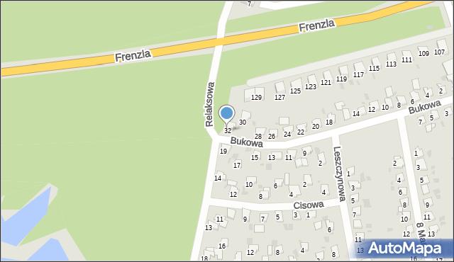 Bytom, Bukowa, 32, mapa Bytomia