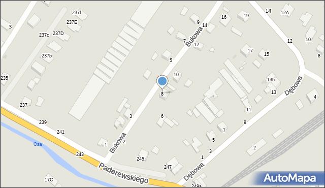 Grudziądz, Bukowa, 8, mapa Grudziądza