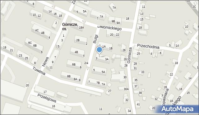 Jaworzno, Bulgi Edwarda, 3B, mapa Jaworzno