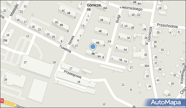Jaworzno, Bulgi Edwarda, 8B, mapa Jaworzno