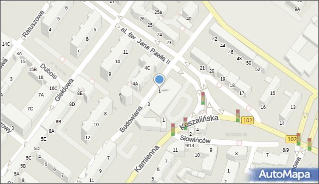Kołobrzeg, Budowlana, 1, mapa Kołobrzegu