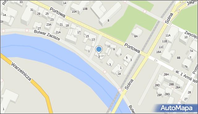 Kołobrzeg, Bulwar Zacisze, 2, mapa Kołobrzegu