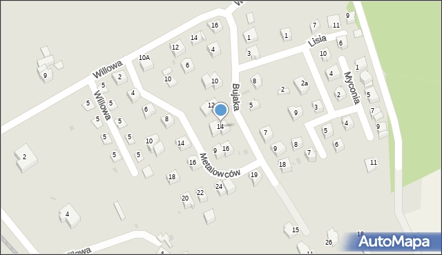 Limanowa, Bujaka Franciszka, 14, mapa Limanowa