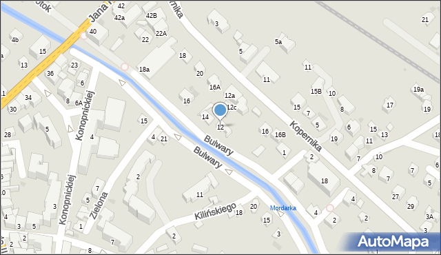 Limanowa, Bulwary, 12, mapa Limanowa