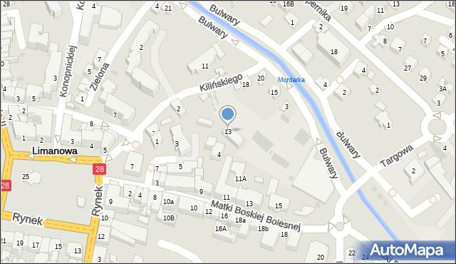 Limanowa, Bulwary, 13, mapa Limanowa