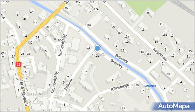 Limanowa, Bulwary, 21, mapa Limanowa