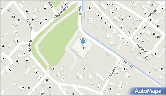 Sokołów Podlaski, Bulwar, 1, mapa Sokołów Podlaski