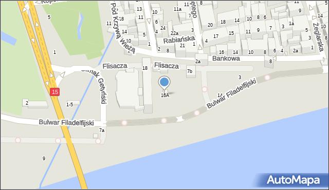 Toruń, Bulwar Filadelfijski, 16, mapa Torunia