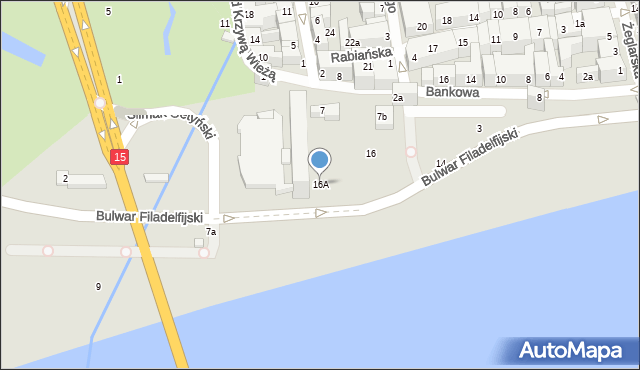 Toruń, Bulwar Filadelfijski, 16A, mapa Torunia