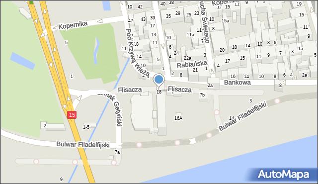 Toruń, Bulwar Filadelfijski, 18, mapa Torunia