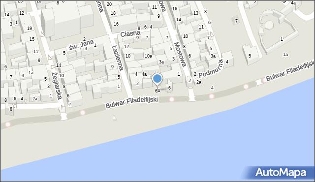 Toruń, Bulwar Filadelfijski, 6A, mapa Torunia