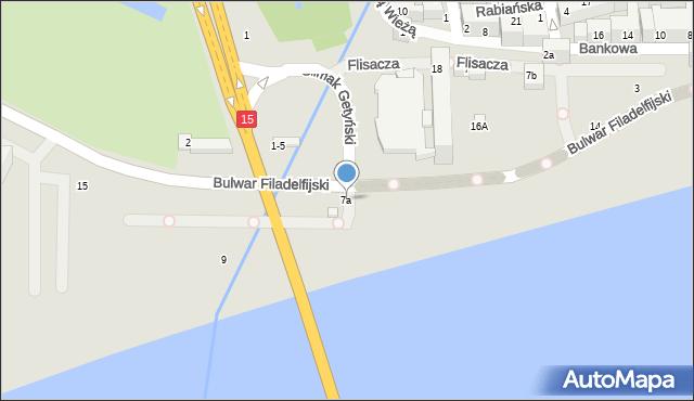 Toruń, Bulwar Filadelfijski, 7a, mapa Torunia