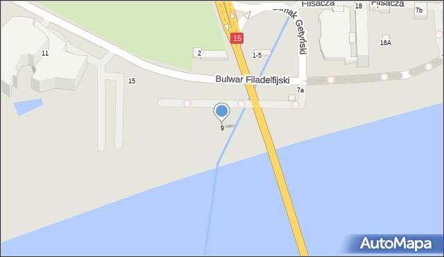 Toruń, Bulwar Filadelfijski, 9, mapa Torunia
