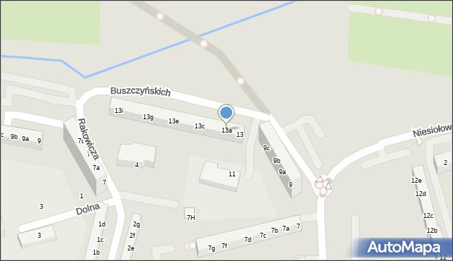Toruń, Buszczyńskich Józefa i Sylwestra, 13a, mapa Torunia