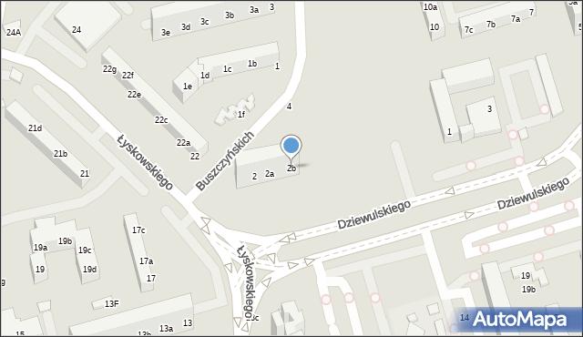 Toruń, Buszczyńskich Józefa i Sylwestra, 2b, mapa Torunia