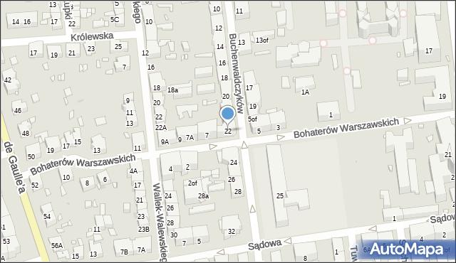 Zabrze, Buchenwaldczyków, 22, mapa Zabrza