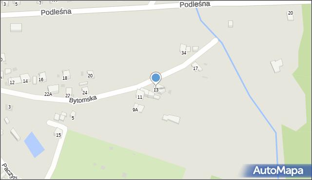 Bytom, Bytomska, 13, mapa Bytomia