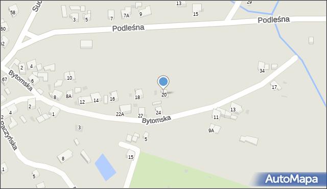 Bytom, Bytomska, 20, mapa Bytomia