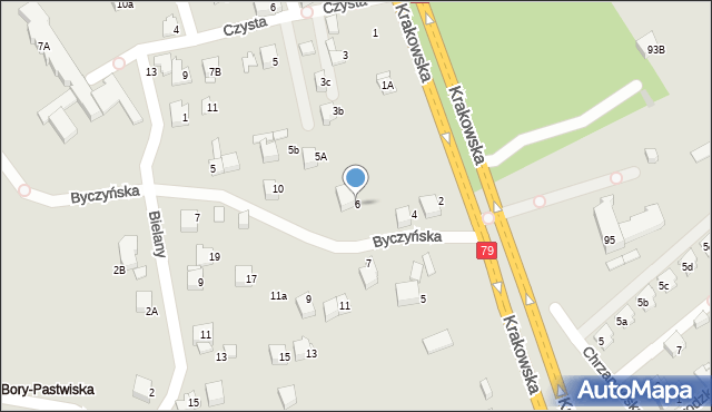 Jaworzno, Byczyńska, 6, mapa Jaworzno
