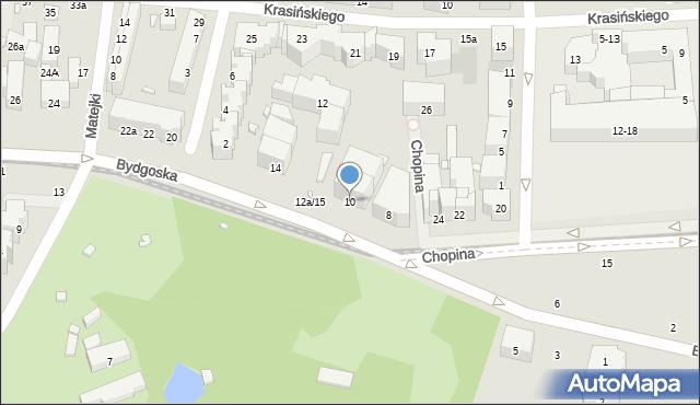 Toruń, Bydgoska, 10, mapa Torunia