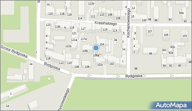Toruń, Bydgoska, 106a, mapa Torunia
