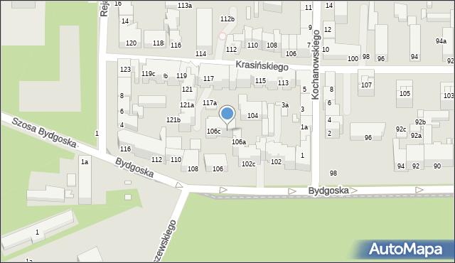 Toruń, Bydgoska, 106b, mapa Torunia