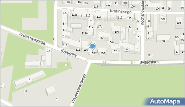 Toruń, Bydgoska, 108, mapa Torunia
