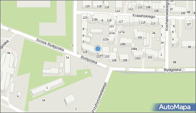 Toruń, Bydgoska, 112, mapa Torunia