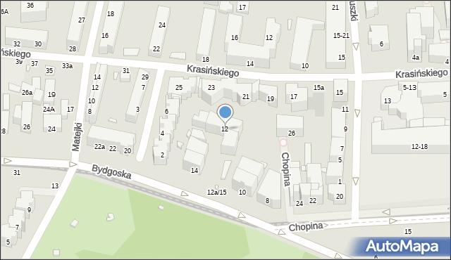 Toruń, Bydgoska, 12, mapa Torunia