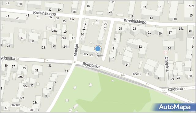 Toruń, Bydgoska, 20, mapa Torunia