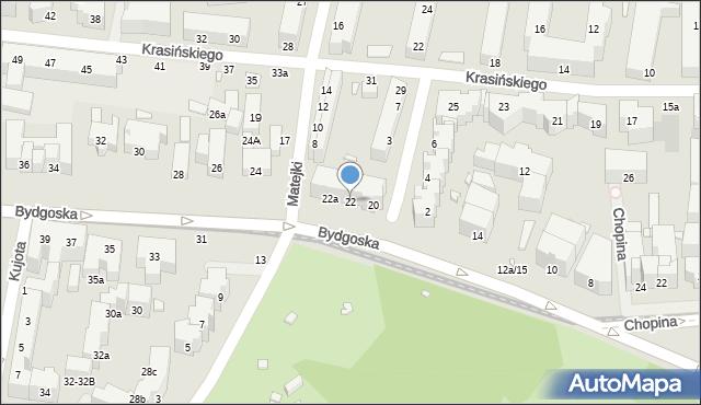 Toruń, Bydgoska, 22, mapa Torunia