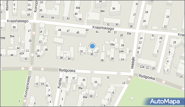 Toruń, Bydgoska, 30a, mapa Torunia