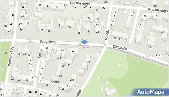 Toruń, Bydgoska, 31, mapa Torunia