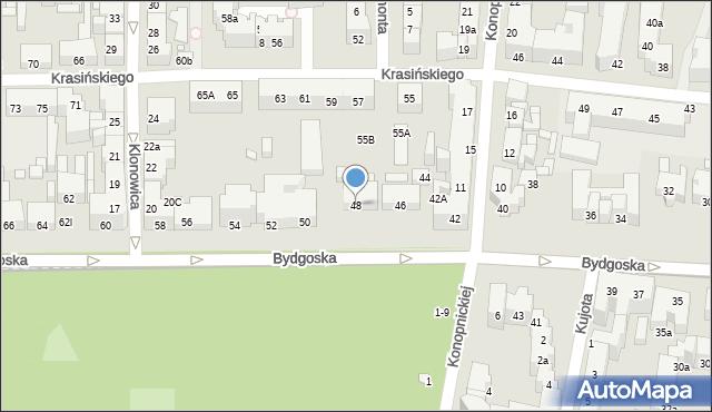 Toruń, Bydgoska, 48, mapa Torunia