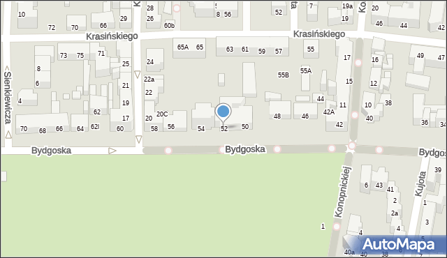 Toruń, Bydgoska, 52, mapa Torunia