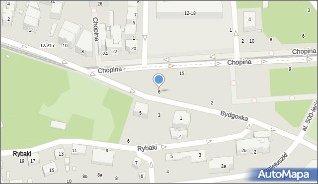 Toruń, Bydgoska, 6, mapa Torunia